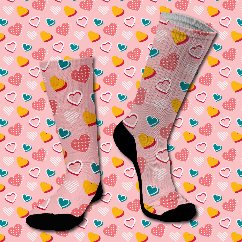 Κάλτσες #doyoudaresocks Digital Printed SuperSport Colorfull Hearts (code 70097)