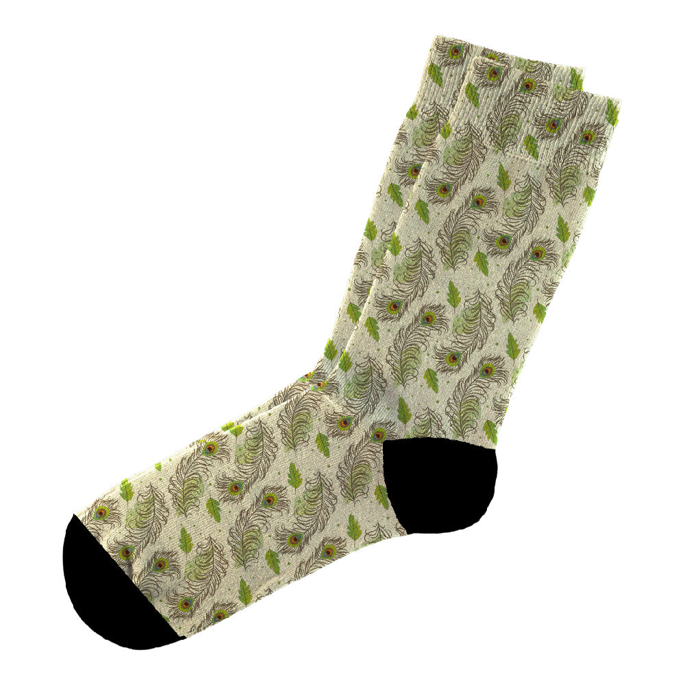 Κάλτσες #doyoudaresocks Digital Printed Casual Peacock Leafs (code 60017)