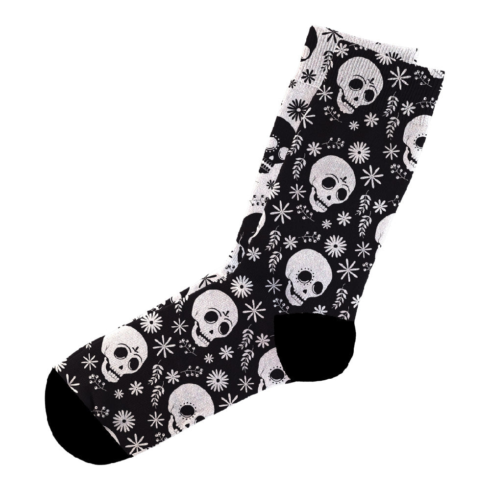 Κάλτσες #doyoudaresocks Digital Printed Casual Black&White Skulls (code 60024)