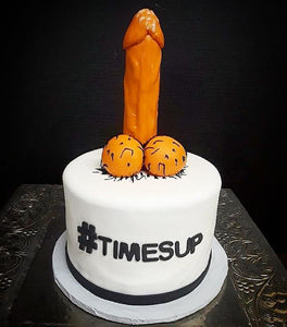 "Penis 7"" round cake with custom message"