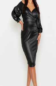 Wrapped Around Your Finger Vegan Leather Dress