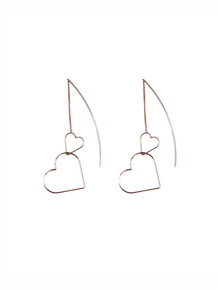 Big Metal London Mara Double Heart Pull Through Earrings Rose
