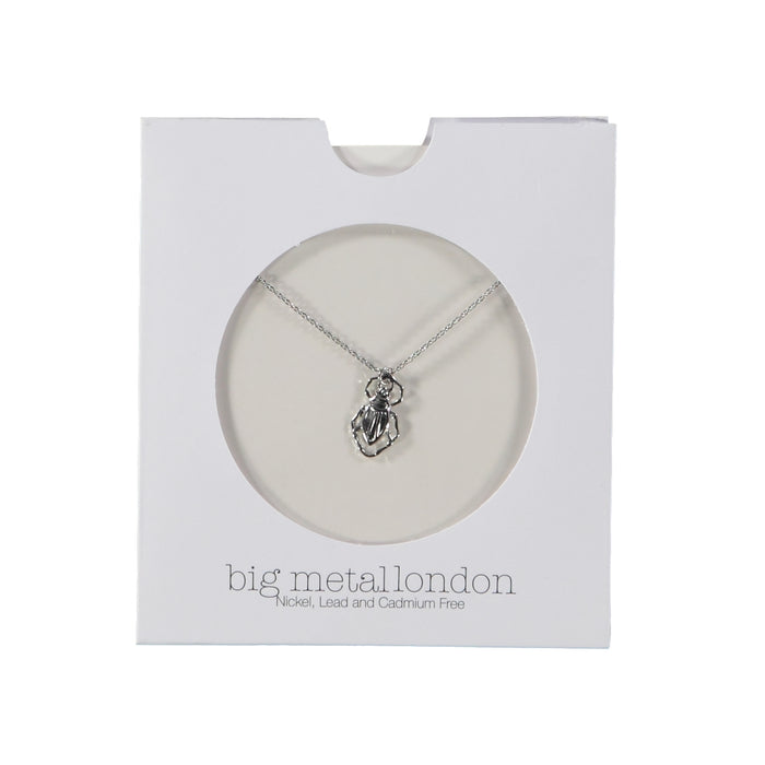 Big Metal London Louise Bug Delicate Pendant Silver