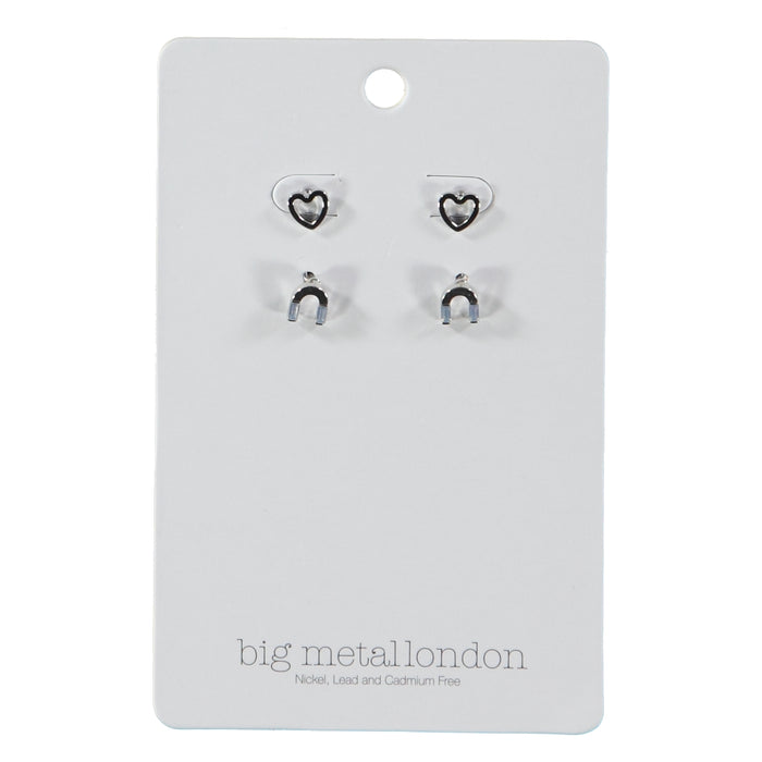 Big Metal London Aimee Loves Stud Earring Pack Silver