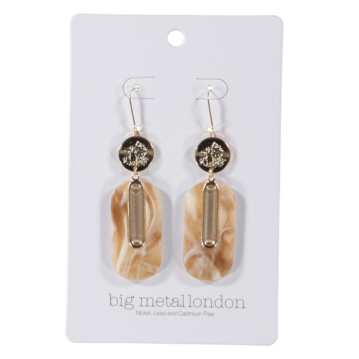 Big Metal London Willow Sprite Coin Resin Earrings Gold Beige