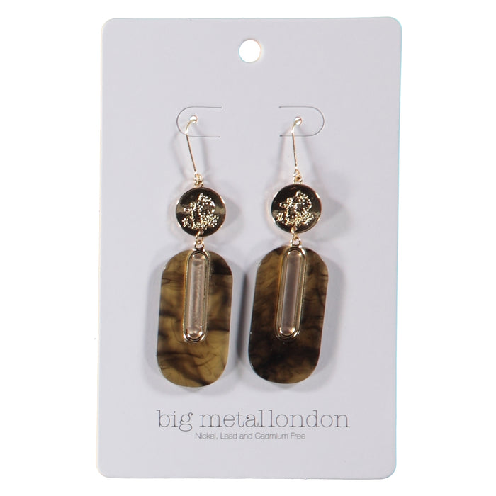 Big Metal London Willow Sprite Coin Resin Earrings Gold Smoke