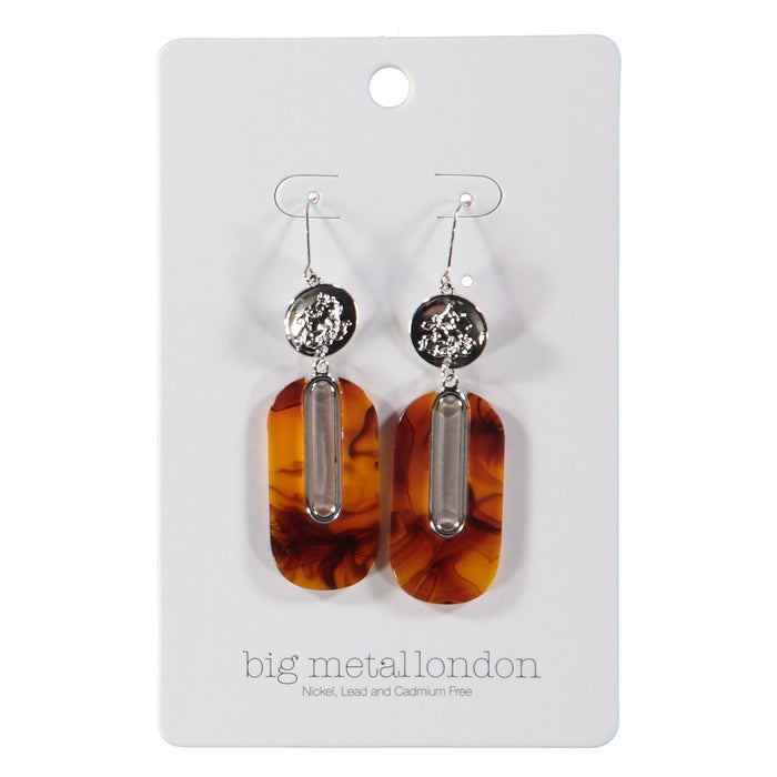 Big Metal London Willow Sprite Coin Resin Earrings Silver Tortoise
