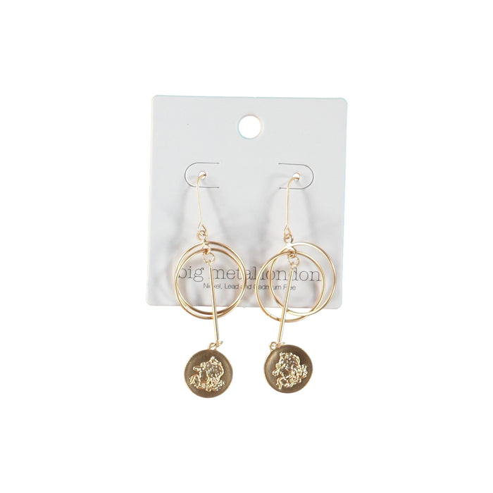 Big Metal London Willow Orb Coin Earrings Gold
