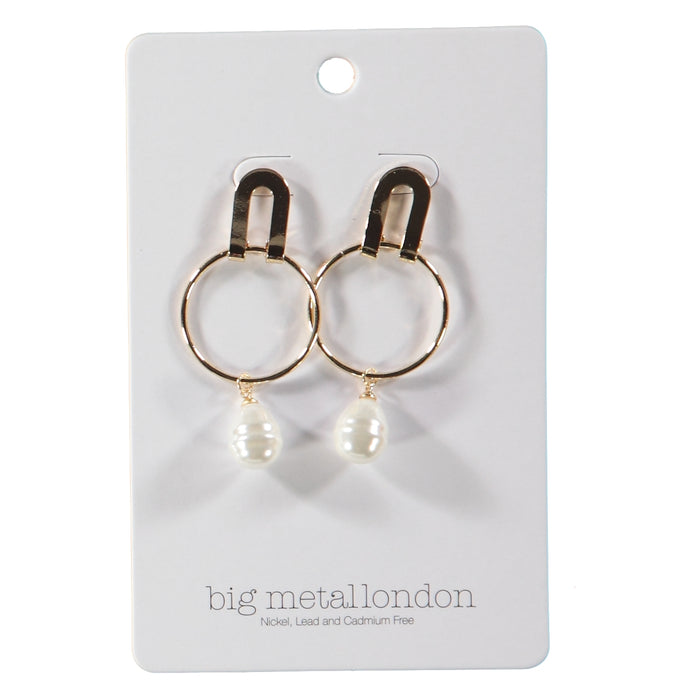 Big Metal London Adele Pearl Earrings Gold