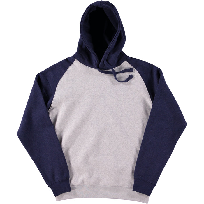 Russell Authentic Hooded Baseball Sweatshirt Oxford Grey Indigo Melange