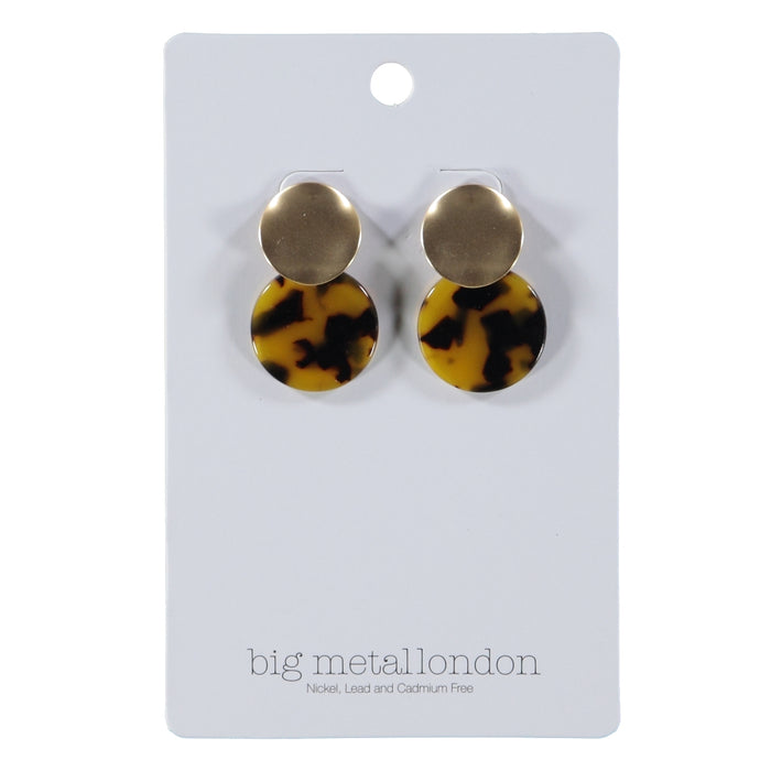 Big Metal London Blisse Two Tone Earrings Tortoise