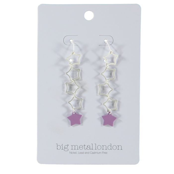 Big Metal London Celie Star Drop Earrings Silver Lilac
