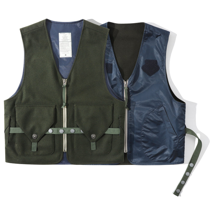 Club Stubborn Reversible Radio Vest Olive Navy
