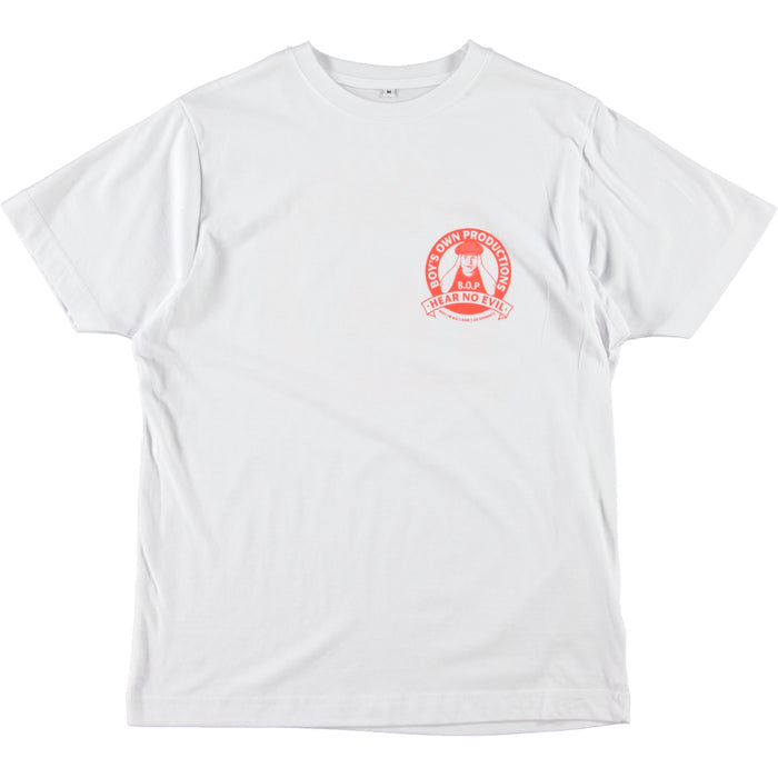 Boy's Own Productions Hear No Evil Tee White Blood Orange