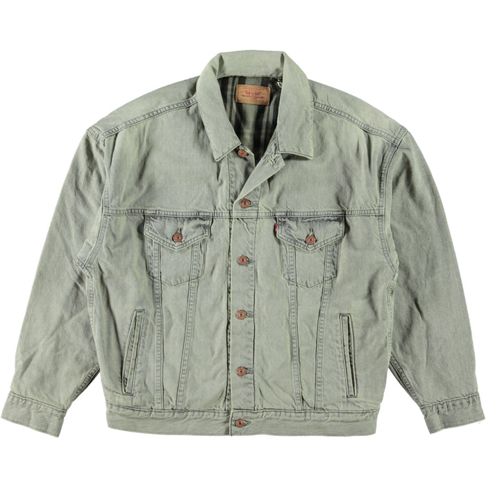 Levis Vintage Clothing LVC Flannel Trucker Jacket Leave Me Alone Grey