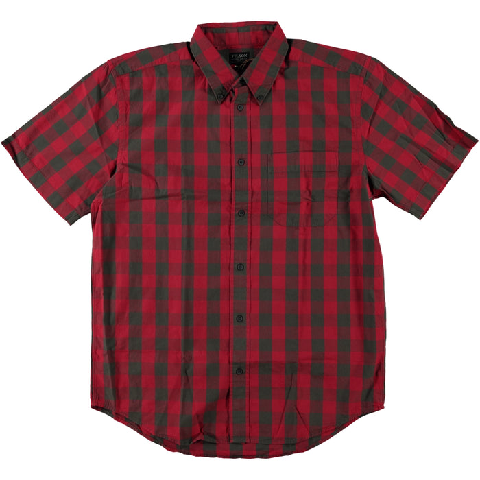 Filson Sutter Sport Short Sleeve Shirt Dark Brown Scarlet