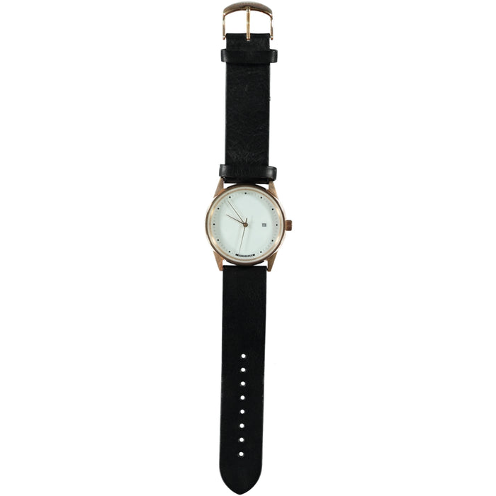 Hypergrand Maverick Gold White Watch Classic Black Strap