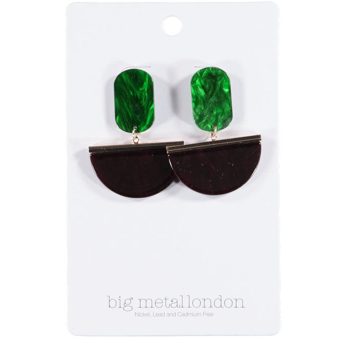 Big Metal London Liviana Two Tone Cut Out Resin Earrings Green