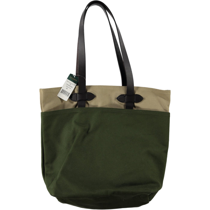 Filson Medium Canvas Tall Tote Bag Green Tan