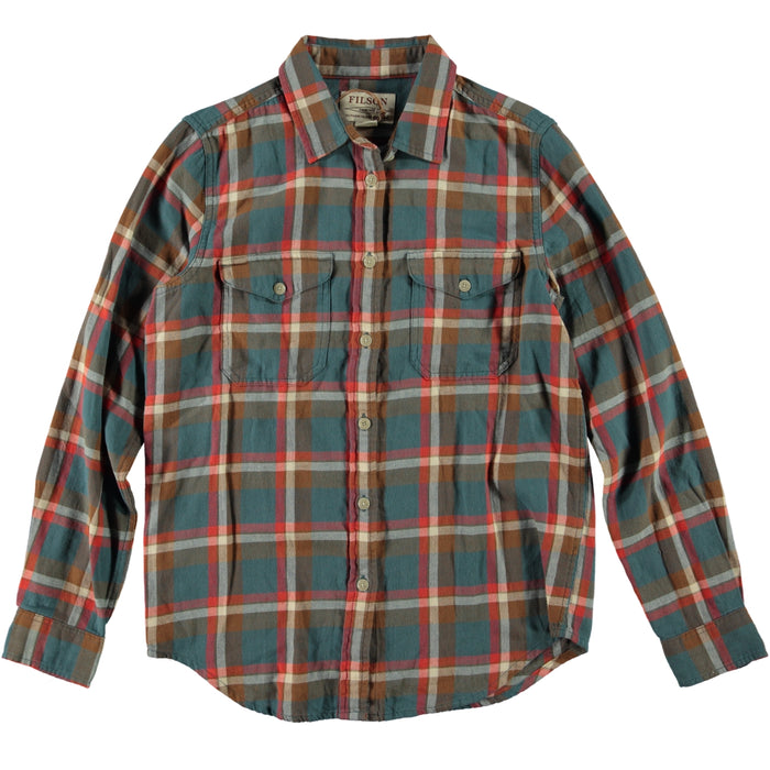 Filson Women's Scout Shirt Dark Teal Brown Red