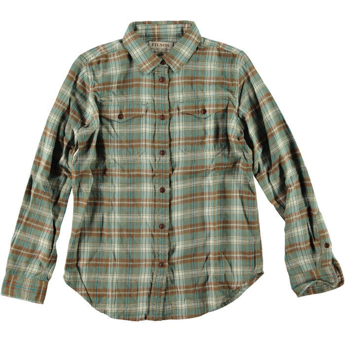 Filson Women's Scout Shirt Teal Brown Blue Plaid