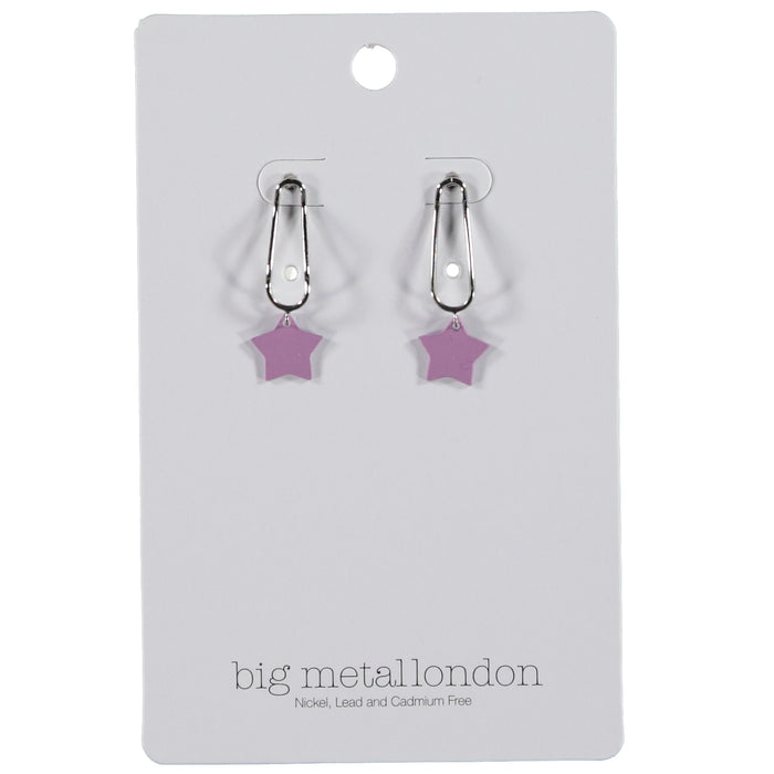 Big Metal London Ernestine Small Star Drop Earrings Silver Purple