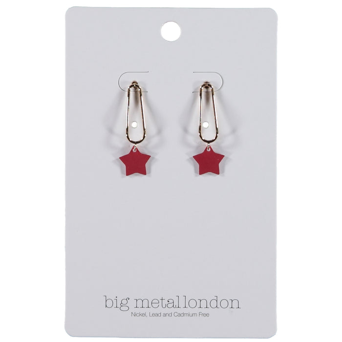 Big Metal London Ernestine Small Star Drop Earrings Gold Red