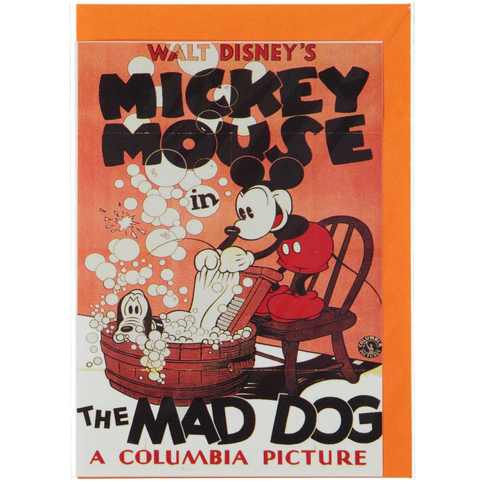 Acme Card Co Vintage Mickey Mouse Mad Dog Silk Greeting Card