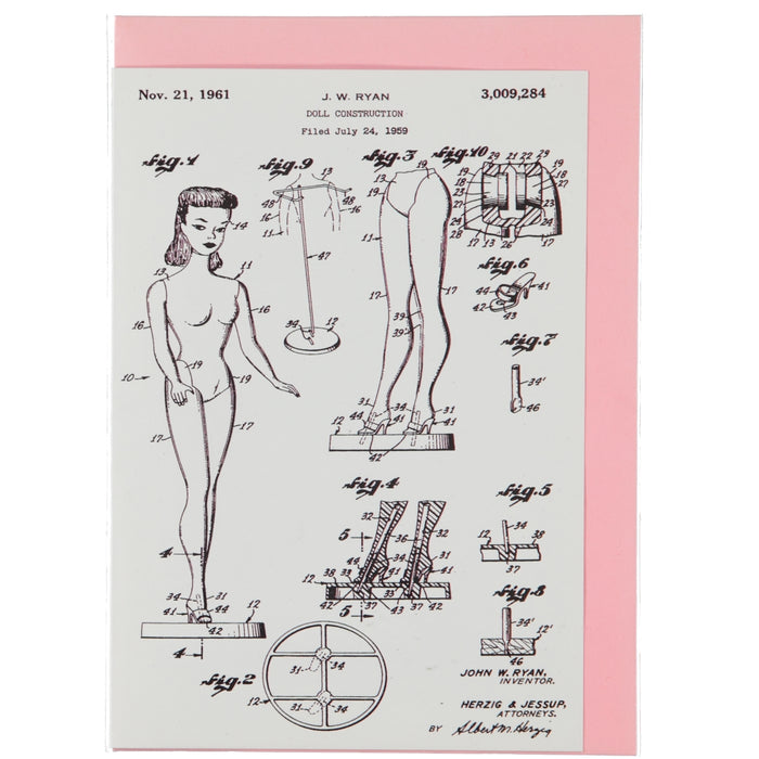 Acme Card Co 1961 Doll Patent Silk Greeting Card