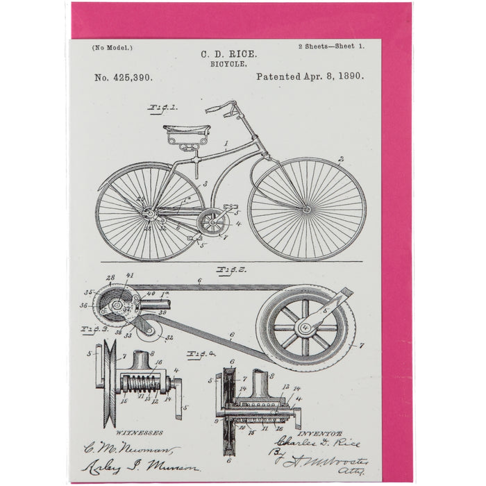 Acme Card Co 1890 Bicycle Patent Silk Greeting Card