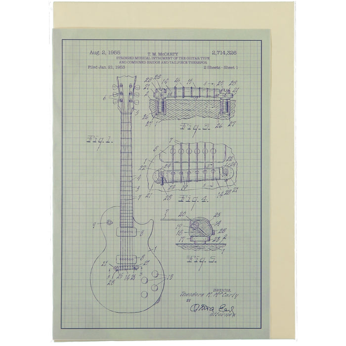 Acme Card Co 1955 Guitar Patent Silk Greeting Card
