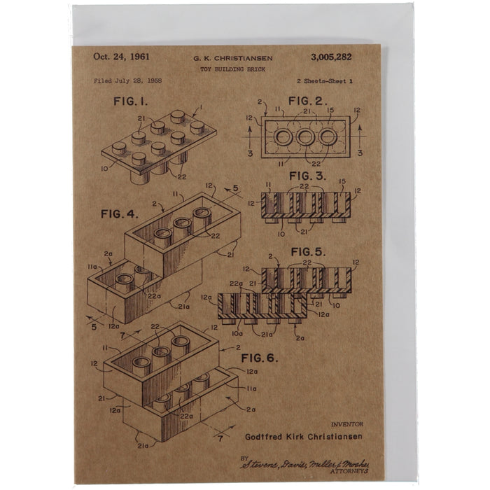 Acme Card Co 1961 Lego Block Patent Kraft Greeting Card