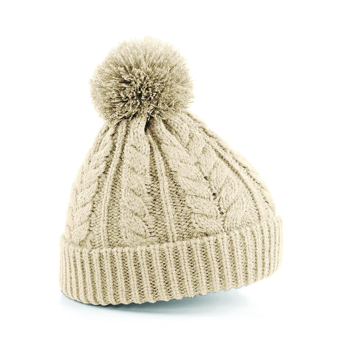 Stylecreep Cable Knit Pom Beanie Oatmeal