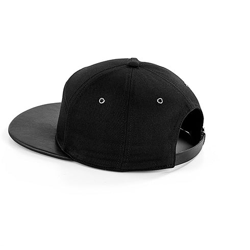 Stylecreep Faux Leather Peak Cap Black