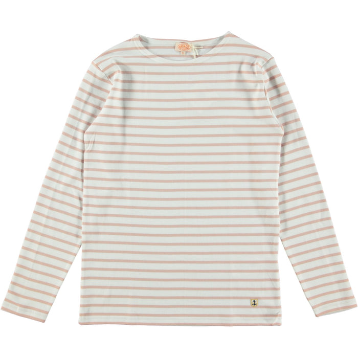 Armor Lux Heritage Breton Striped Long Sleeve T Shirt White Lotus Pink