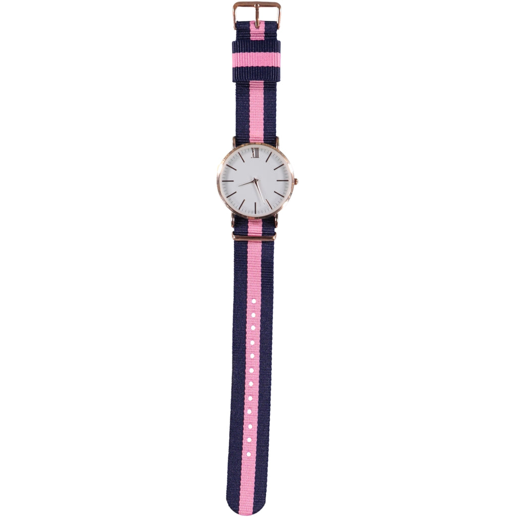 38mm Dia Face Rose Gold 20mm Nato Strap Pink Navy Watch