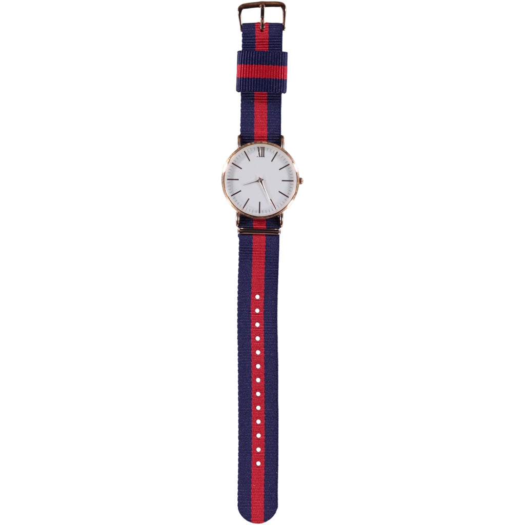 38mm Dia Face Rose Gold 20mm Nato Strap Navy Red Watch
