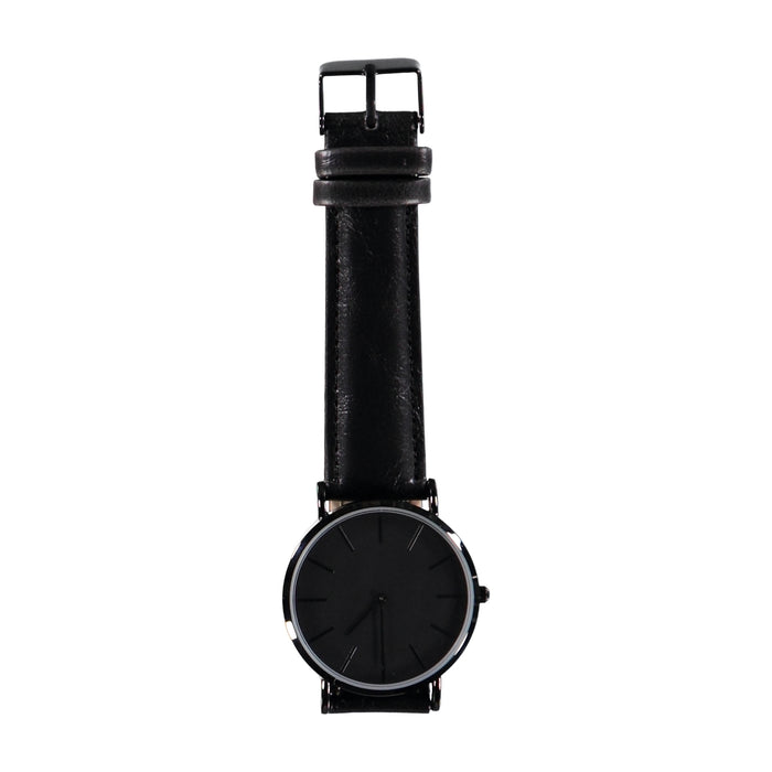 38mm Dia Face All Black Hands 20mm Black Leather Strap Watch