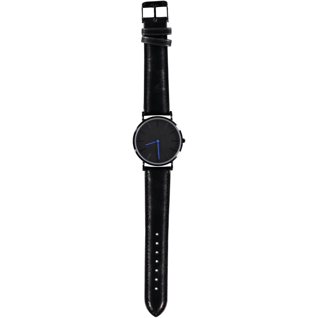 38mm Dia Face Black Blue Hands 20mm Black Leather Strap Watch