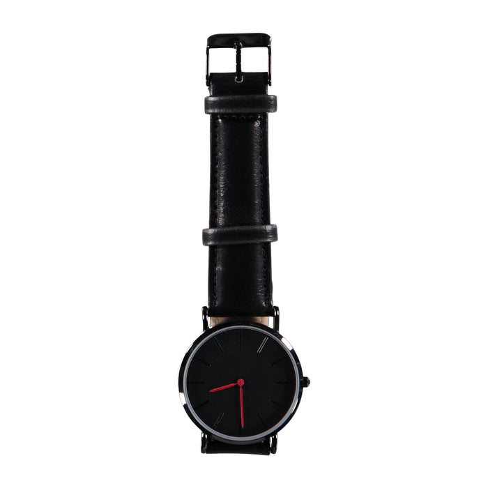 38mm Dia Face Black Red Hands 20mm Black Leather Strap Watch