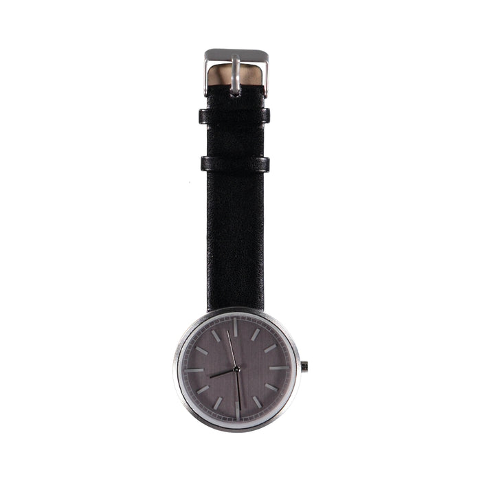 40mm Dia Face All Silver 18mm Dark Brown Leather Strap Watch