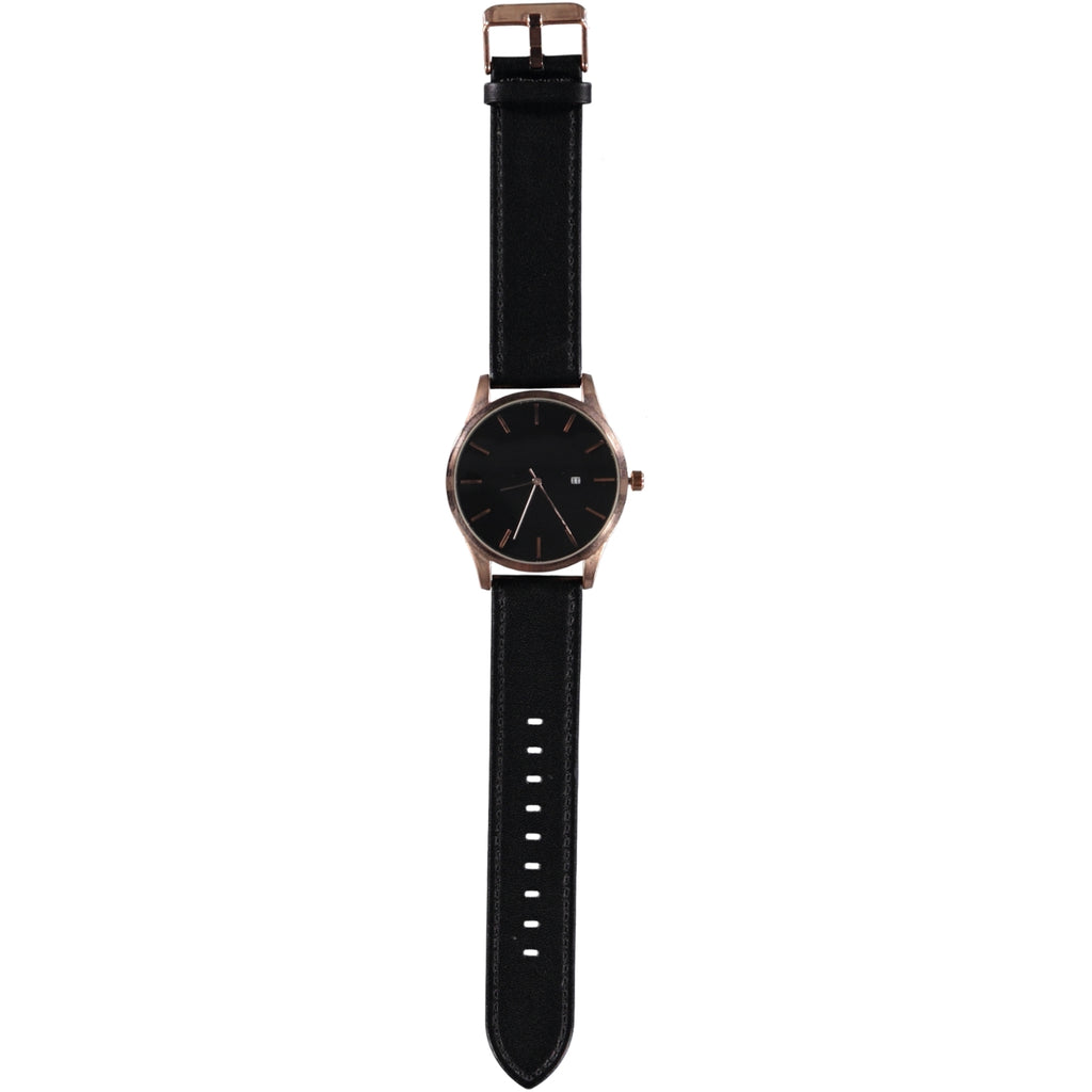 44mm Black Face Rose Gold Crown 22mm Black Leather Strap Date Watch