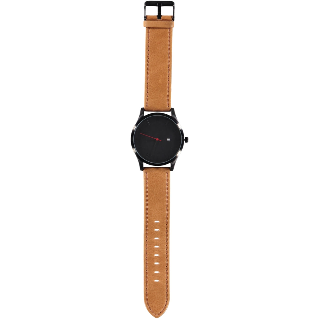 44mm Black Face Black Crown 22mm Tan Leather Strap Date Watch