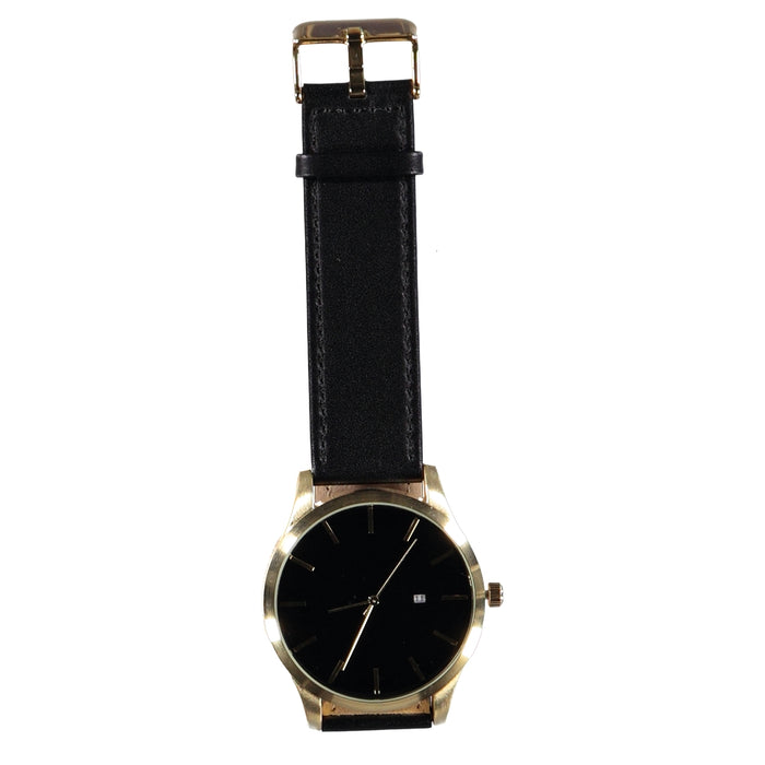 44mm Black Face Gold Crown 22mm Black Leather Strap Date Watch