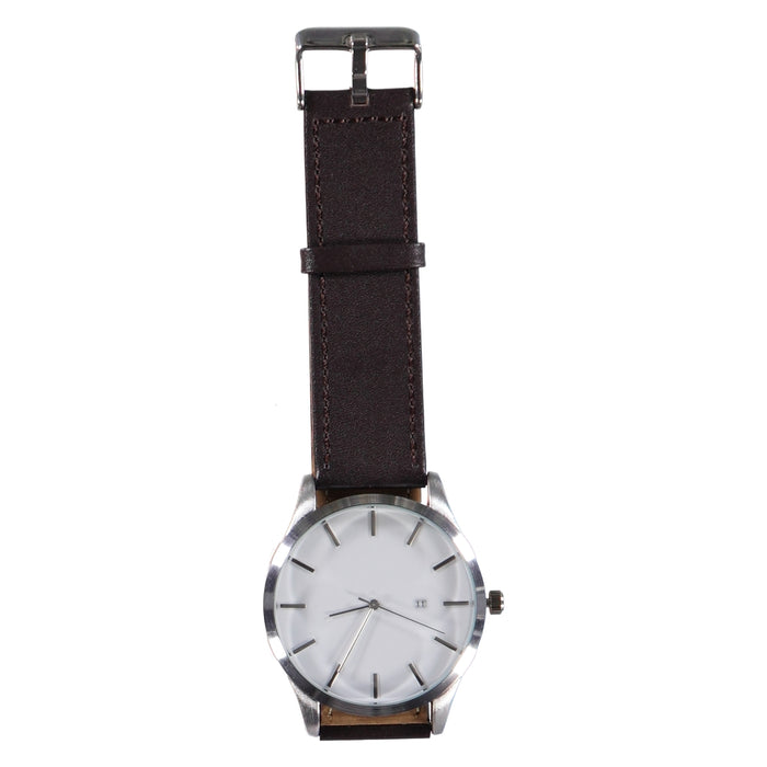 44mm Grey Face Silver Crown 22mm Dk Brown Leather Strap Date Watch