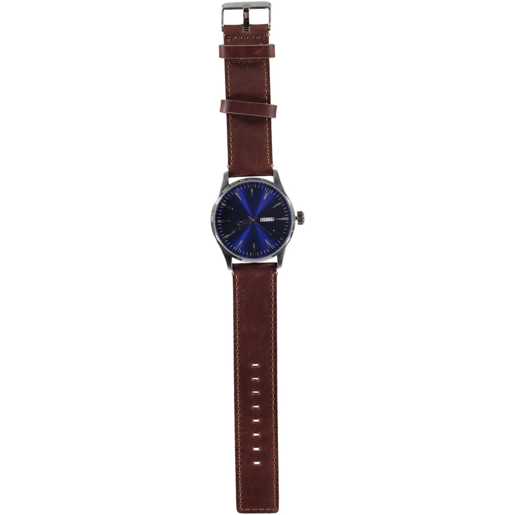 44mm Blue Face Silver Crown 22mm Dk Brown Leather Strap Date Watch
