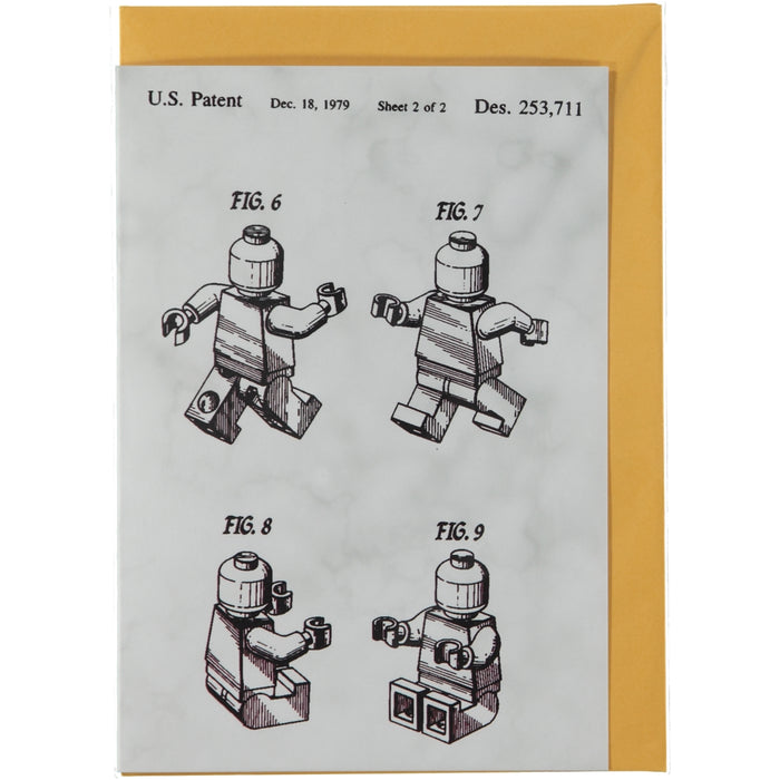 Acme Card Co 1979 Lego Patent Grey Marble Greeting Card