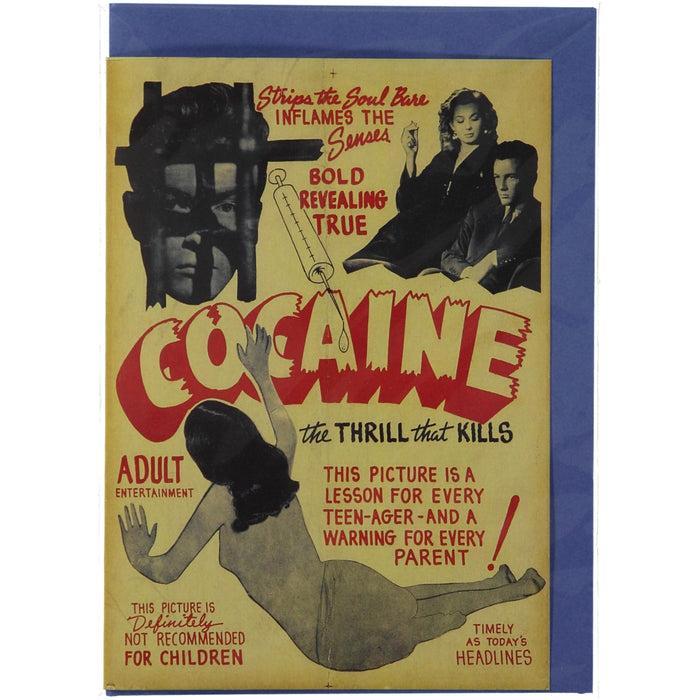 Acme Card Co Vintage Cocaine B Movie Poster Silk Greeting Card