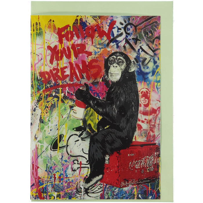 Acme Card Co Mr Brainwash Follow Your Dreams Silk Greeting Card