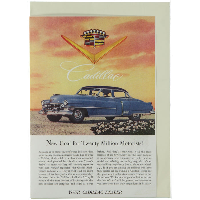 Acme Card Co Vintage Cadillac Ad Silk Greeting Card
